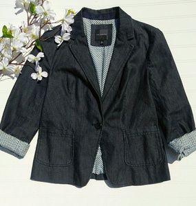 The Limited denim single- button blazer sz small